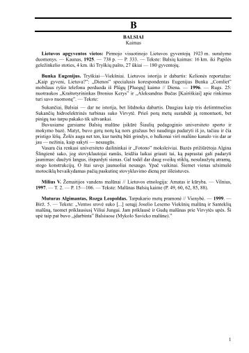 1 BALSIAI Kaimas Lietuvos apgyventos vietos: Pirmojo visuotinojo ...