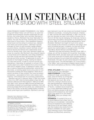 Haim Steinbach in the Studio with Steel Stillman