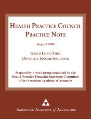 Group long-term disability practice note - American Academy of ...