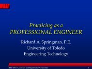 PE - The University of Toledo - Engineering Technology Department