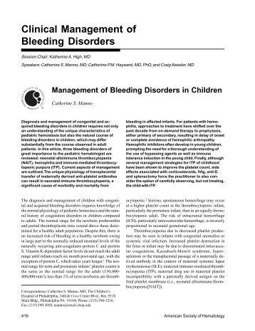 Clinical Management of Bleeding Disorders - Hematology