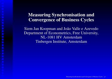 Measuring Synchronisation and Convergence of Business Cycles