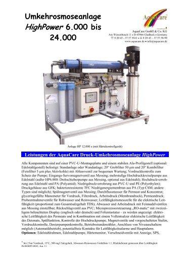 Umkehrosmoseanlage Highpower 6.000 bis 24.000