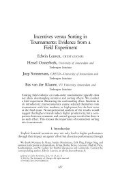 Incentives versus Sorting in Tournaments: Evidence from a Field ...