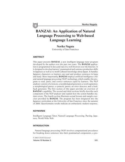 Banzai: an application of natural language processing to web