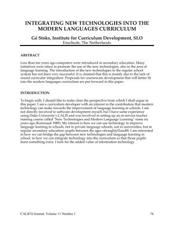 integrating new technologies into the modern languages curriculum