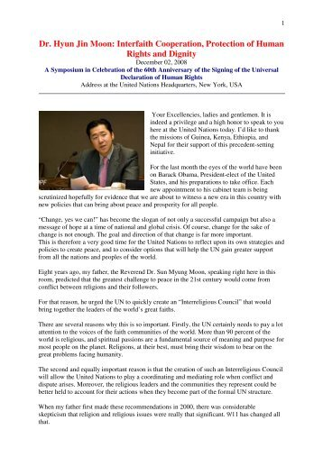 Dr. Hyun Jin Moon: Interfaith Cooperation, Protection of Human ...