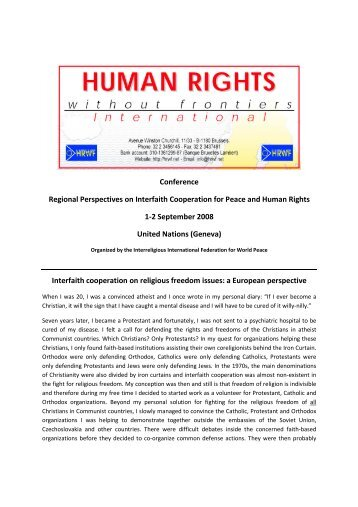 Willy Fautré: Human Rights Without Frontiers