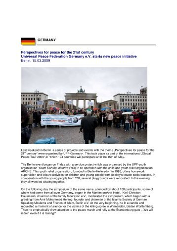 GERMANY Perspectives for peace for the 21st century Universal ...