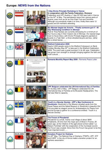 Europe: NEWS from the Nation S from the Nations - Unification & I