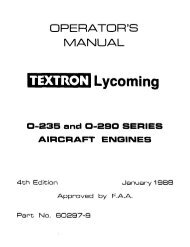Lycoming Numerical Parts History