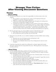 Stranger Than Fiction: After-Viewing Discussion Questions - schs