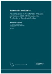 Sustainable Innovation report - The Centre for Sustainable Design
