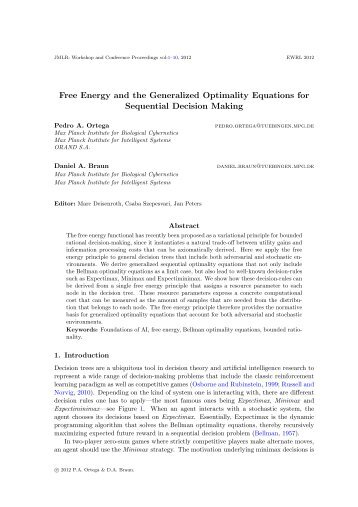 Free Energy and the Generalized Optimality Equations for ...