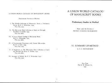 a union world catalog of manuscript books preliminary studies in ...