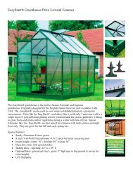 EasyStart® Greenhouse Price List and Features - Exaco