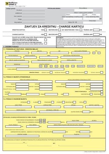 Zahtjev za kreditnu charge karticu i administrativna ... - Raiffeisen Bank