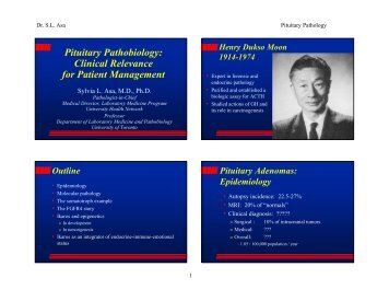 Pituitary Pathobiology - Departments of Pathology and Laboratory ...