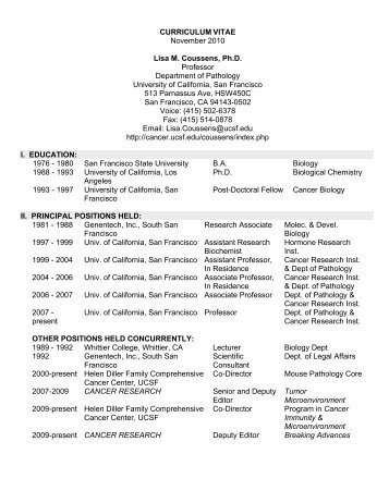 Coussens CV 11-10 - Departments of Pathology and Laboratory ...