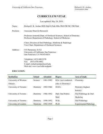 Richard Jordan CV - Departments of Pathology and Laboratory ...