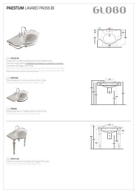 Paestum Lavabo Pa056 Bi Ceramica Globo