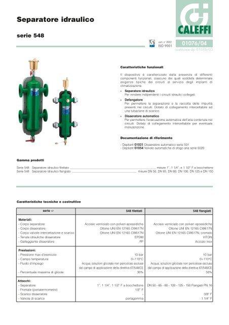 SEPARATORE IDRAULICO COIBENTATO CIRCUITO PRIMARIO DA CIRCUITO SECONDARIO 1 1//4 F