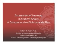Assessment of Learning in Student Affairs - ACPA 2014 Indianapolis ...