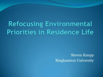 Refocusing Environmental Priorities in Residence Life