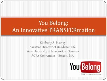 You Belong: An Innovative TRANSFERmation