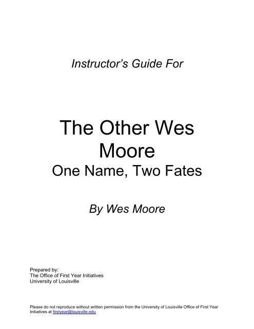 the other wes moore one name two fates