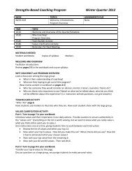 Strengths-Based Coaching Program Winter Quarter 2012