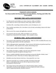 25 Steps for Successful Interviewing and Job ... - ACPA Convention