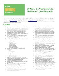 """50 Ways To """"Give More In Baltimore"""" (And Beyond)"""
