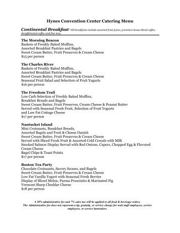 Hynes Convention Center Catering Menu