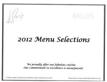 Ballys and Paris Menu (PDF)