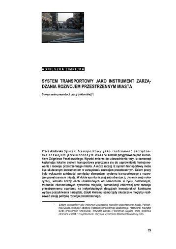 System transportowy jako instrument zarządzania rozwojem ...