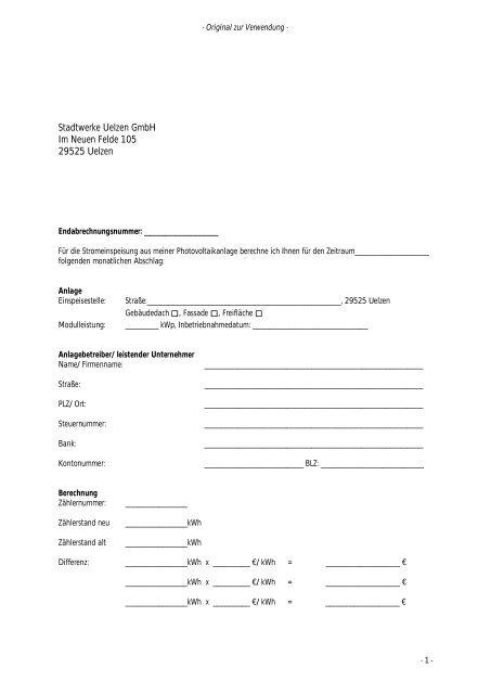 Stadtwerke Uelzen GmbH Im Neuen Felde 105 29525 Uelzen