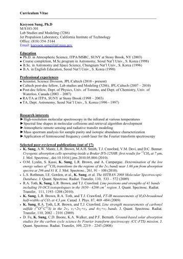 Curriculum Vitae Keeyoon Sung, Ph.D M/S183-301 Lab St