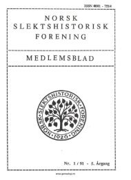 NORSK SLEKTSHISTORISK FORENING MEDLEMSBLAD