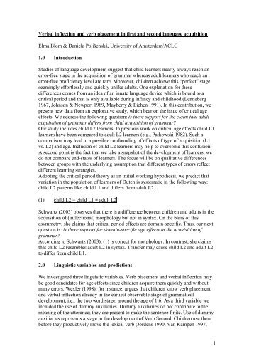 Verbal inflection and verb placement in first and second language ...