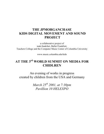 The JPMorganChase Kids Digital Movement and Sound - Columbia ...