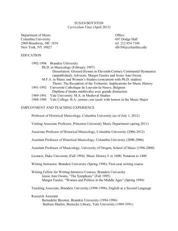 SUSAN BOYNTON - Columbia University Department of Music