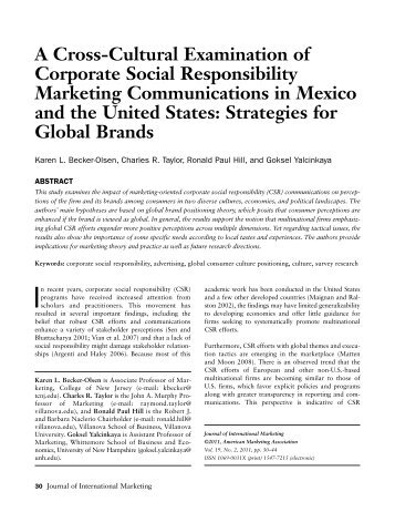 A Cross-Cultural Examination of Corporate Social Responsibility ...