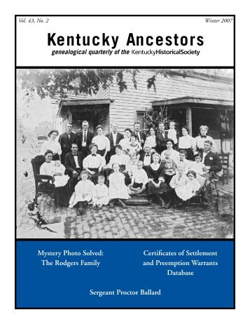 Kentucky Ancestors - Kentucky Historical Society