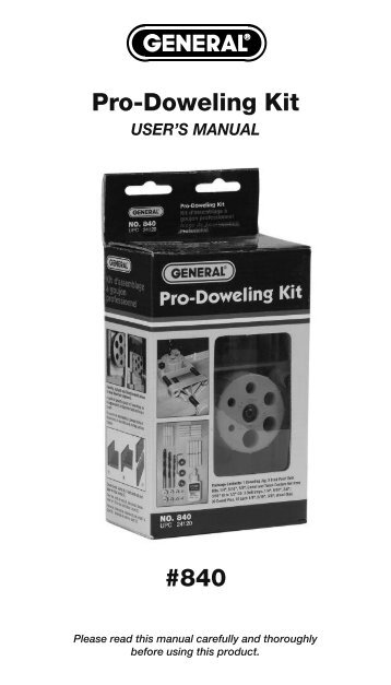 Pro-Doweling Kit #840 - General Tools And Instruments