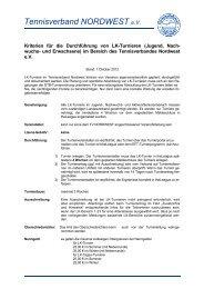 Kriterien LK Turniere - Tennisverband NORDWEST eV