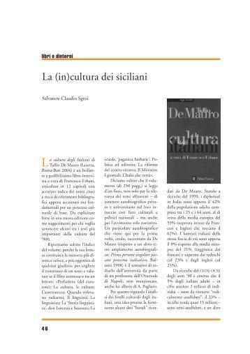 La (in)cultura dei siciliani - Università degli Studi di Catania
