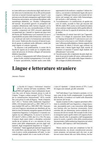 Lingue e letterature straniere - Università degli Studi di Catania