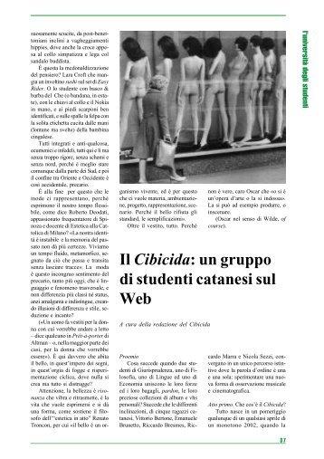 Il Cibicida: un gruppo di studenti catanesi sul Web - Università degli ...