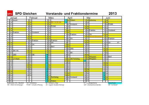 Jahreskalender 2013 - SPD Ortsverein Gleichen